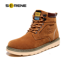 SERENE Brand Men Winter Warm Fur Snow Ankle Boots Motocycle Cowboy Army Fashion Male Work Safety Wear Resisting Casual Shoes