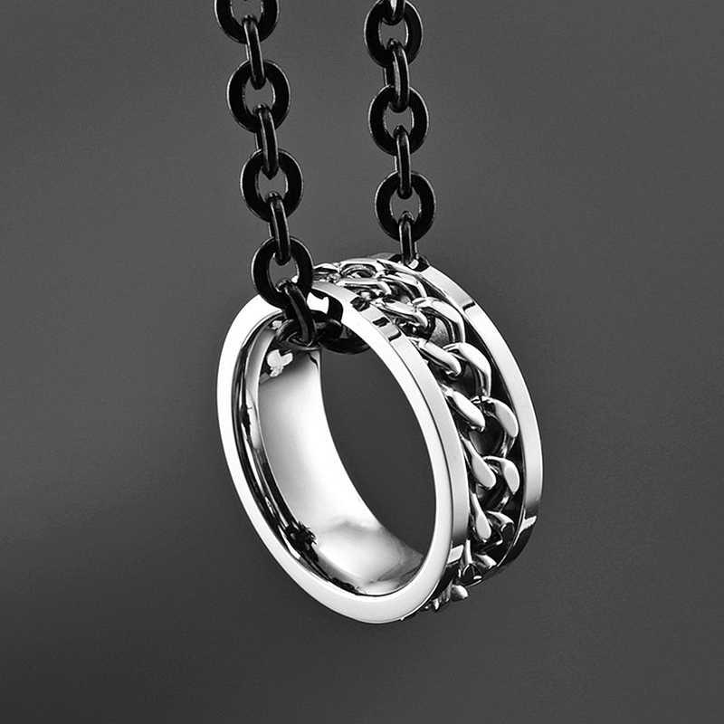 נירוסטה כסף מסתובב שרשרת טבעת פאנק סגנון אישיות גברים של טבעת טבעת גברים של תכשיטים