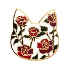 Твердый эмалированный значок в виде головы кошки с цветущими цветами