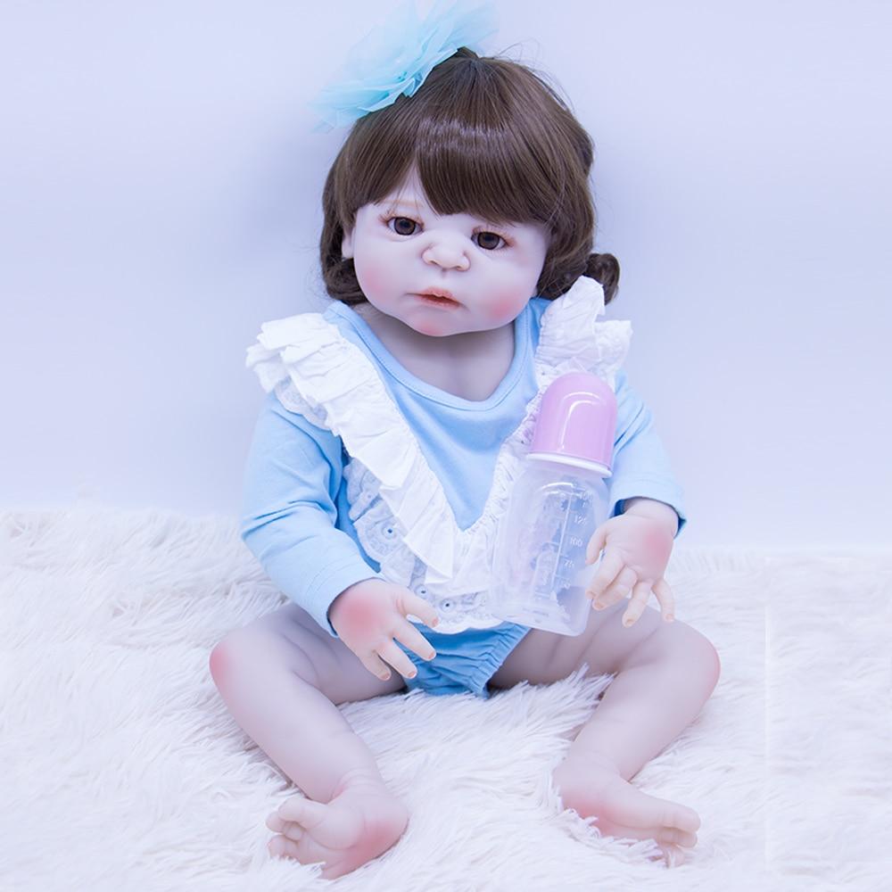 Npk Bebe Reborn Doll 55cm All Silicone Reborn Baby Dolls Com Corpo De Silicone Menina Soft Curls Baby Dolls Christmas Gifts Lol