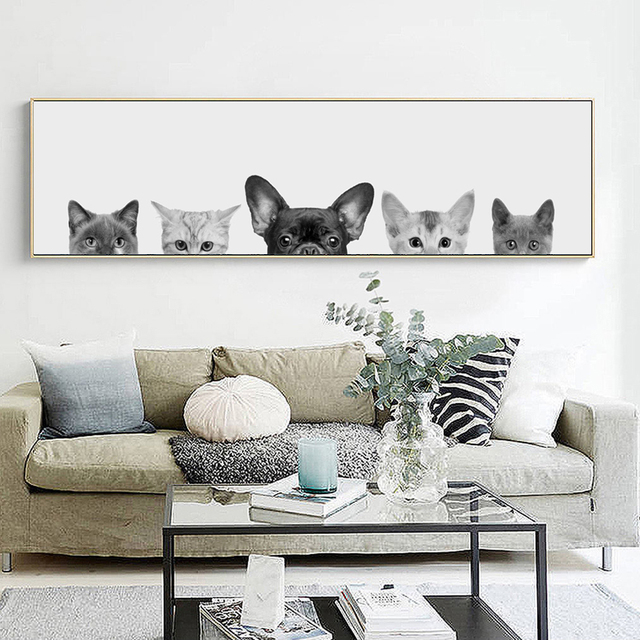 Moderne Leuke Dieren Fotografie Katten en Honden Art Canvas Prints ...