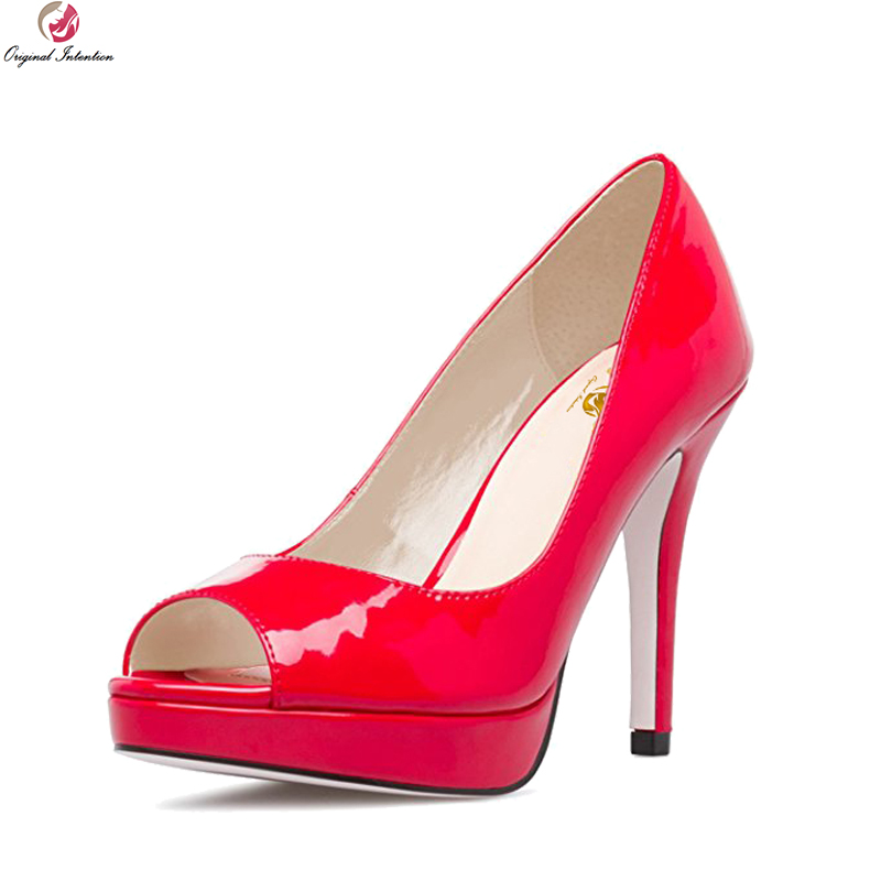 Original Intention High-quality Women Pumps Popular Peep Toe Thin Heels Pumps Patent Leather Black Red Shoes Woman US Size 4-15 patent leather pumps shoes red black