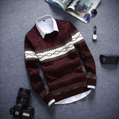 2020 Men Fall Teenagers Long-sleeved Round Collar Knitwear Fashion Striped Sweater