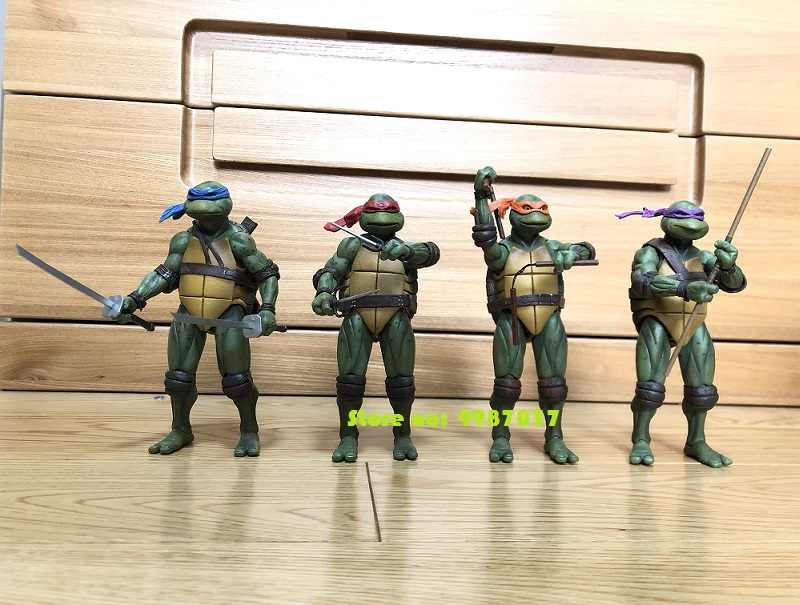 "Classic movie T Turtles 7"" Action Figure Raphael Leonardo Michelangelo Donatello Ninjas KO's NECA Gameshop Exclusive Toys"