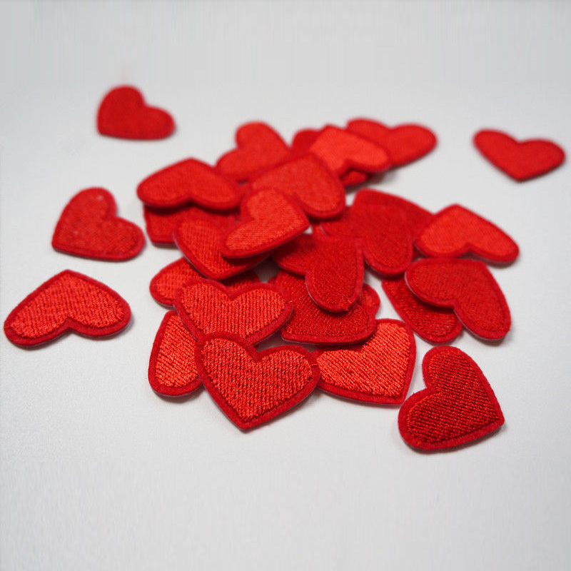 Mayitr 10pcs Love Red Heart Iron On Patch Sewing On