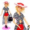 ( Комбинат ) костюм комплект ткань в полоску длинная плащ красный шорты шляпа мешок обувь аксессуары одежда для Kurhn Barbie кукла