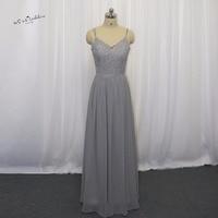 2017 Custom Made Gray Long Wedding Guest Dresses Lace Bridesmaid Dress Sequined Vestido Longo de Festa Casamento Spaghetti Strap