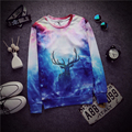 Good Quality Women Men Autumn Winter 3D Sweatshirt Animal Deer Space Galaxy Harajuku Hoodies Moleton Masculino Female Male