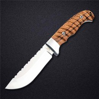 DOXA Fixed Tactical Pocket Knife 420 Stainless Steel Blade Zebra Wood Handle Multifunctional Straight Knives Hot