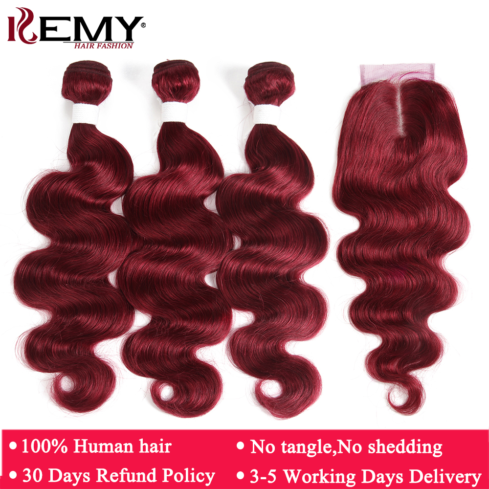 99J/Burgundy Red Color Body Wave Human Hair Bundles With Closure 4*4 KEMY HAIR Pre-colored Brazilian Remy Hair Weave Bundles