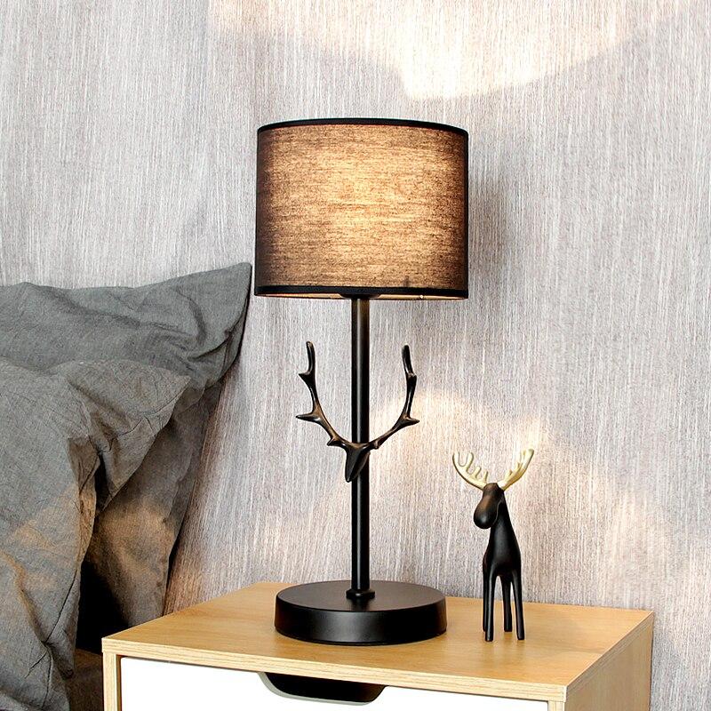 Нордическая черная настольная современная лампа светодиодный рога настольная лампа для спальни прикроватная лампа для учебы в отеле Рождественские украшения для домашнего декора - 2