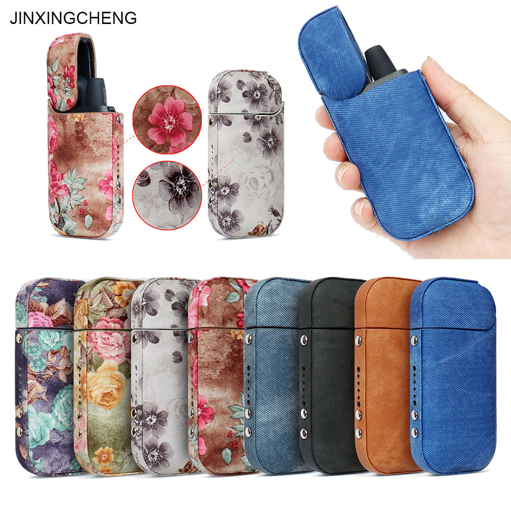 JINXINGCHENG Case For IQOS 2.4 Plus Cover  For IQOS Case Leather Pouch Bag Flower Protective Holder