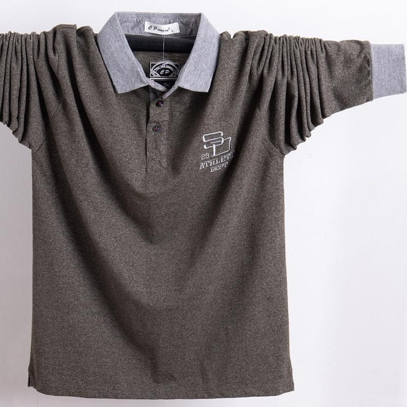 2018 Men Polo Shirt Full Top Business Polo Shirt Men Camisa Masculina Cotton Homme Work Silm Fit 5XL Autumn Spring Tee Shirt