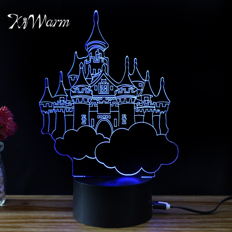 KiWarm Vintage 3D Villa Castello Design Novelty Light Lampada Led Table Lamp Bulbing Colorful Night Light
