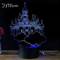 KiWarm Vintage 3D Villa Castello Design Novelty Light Lampada Led Table Lamp Bulbing Colorful Night Light