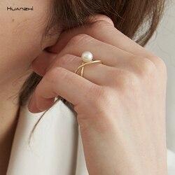 Huanzhi 2019 coreano nova cruz geométrica pérola branca preto grânulos liga de ouro abertura anéis para mulheres meninas presentes turismo festa