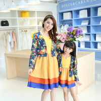 Autumn Mother Daughter Dresses Clothes+dress 2pcs Flowers Family Look New Style Comfortable Outfits Long Sleeve Clothing