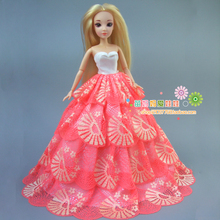 new arrvial collection Luxury 4 layers lace bride dress for barbie doll for 1/6 bjd doll Fashion royalty doll