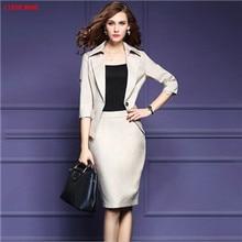 Office Uniform Designs Womens Business Suits Ladies Skirt Suits For Work Professional Women Fashion Blazer With Skirt Set XXXL
