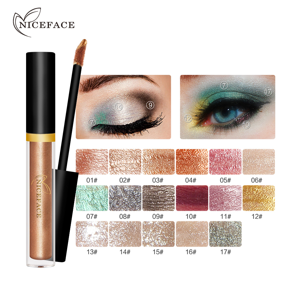 2018 NICEFACE Liquid Eye Shadow Shimmer Glitter Nude Metals Glow Eyeshadow Palette Waterproof Lasting Highlighter Beauty Makeup