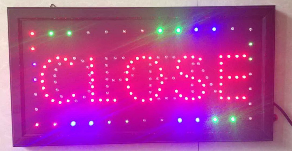 customized open closed sign 10X19 inch indoor Ultra Bright flashing led  lighted signs business store signage display