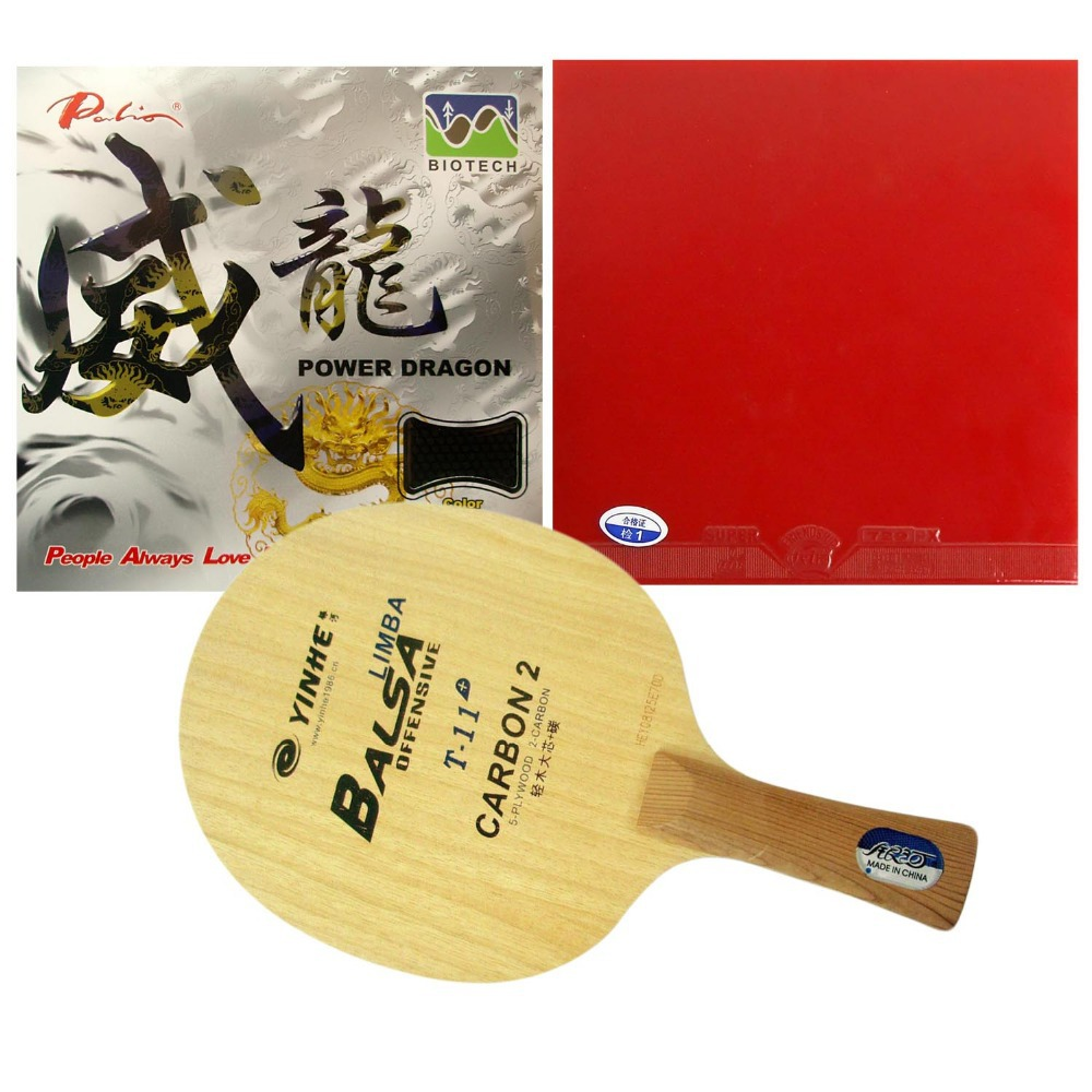 Original Pro Table Tennis Combo Racket: Galaxy Yinhe T-11+ with 729 Super FX / Palio Power Dragon Shakehand Long Handle FL