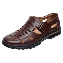 Men s Summer Shoes Genuine Leather New 2016 Men Sandals Hollow Platform Business Sandal Driving Moccasins