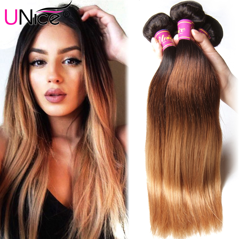 Brazilian Ombre Hair Extensions Straight Ombre 3 Tone Human Hair