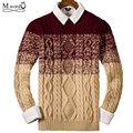 2017 nuevos Mens del Vestido de jersey de Punto suéter de la raya de los hombres retros Británicos Casual slim fit jumper suéter de Cuello o