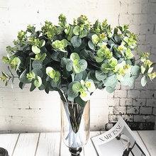 16 cabezas ramo de eucalipto ramas de árboles seda Artificial decoración del hogar con hojas DIY flor arreglo planta corona de plantas artificiales