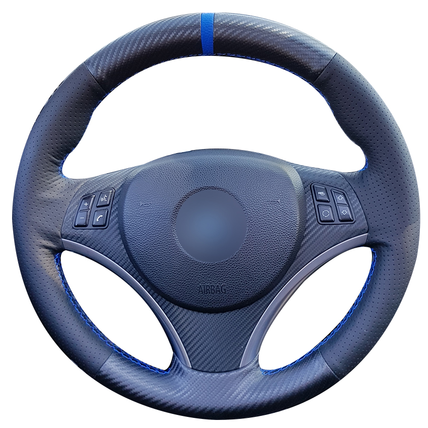 Carbon Fiber Leather Black Leather Blue Marker Car Steering Wheel Cover for BMW E90 320i 325i