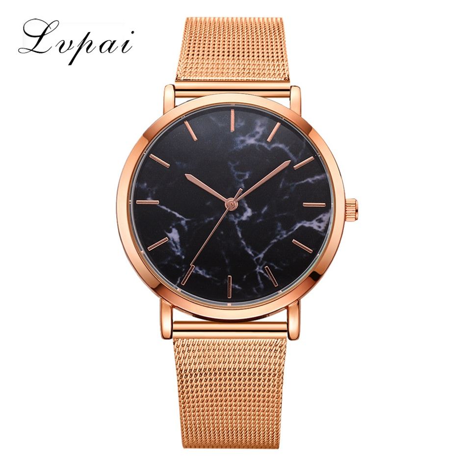 Lvpai Dropshiping Fashion Rose Gold Mesh Band Creative Marble Wrist Watch  Casual Women Watches Brand Quartz Relogio
