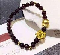 Pure 24K Yellow gold Lotus Buddha Hand Garnet Elastic Line Bracelet