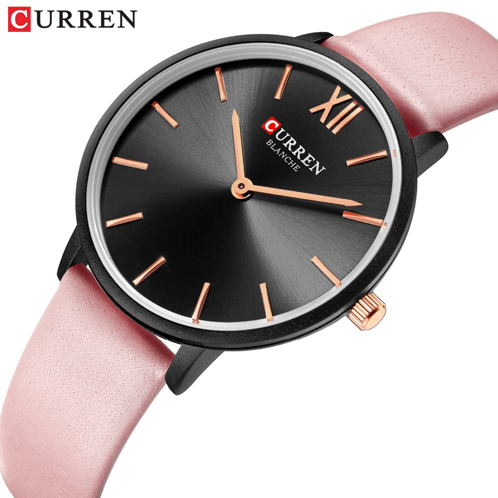 CURREN Women Watches Pink Analog Quartz Clock Female Casual Ladies Wrist Watch Soft Leather Strap Watch Relogios Feminino