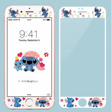 Cute Cartoon Duffy My Melody Stitch 9H Hardness 3D Edge Full Cover Tempered Glass for iphone 6 6S 7 8 Plus Screen Protector film(China)