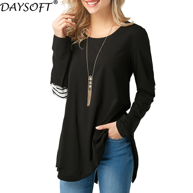 DAYSOFT Autumn Winter Long Sleeve T Shirts Women Loose Female T-shirt Fashion Harajuku Striped Slim Lady Tops Camiseta Feminina