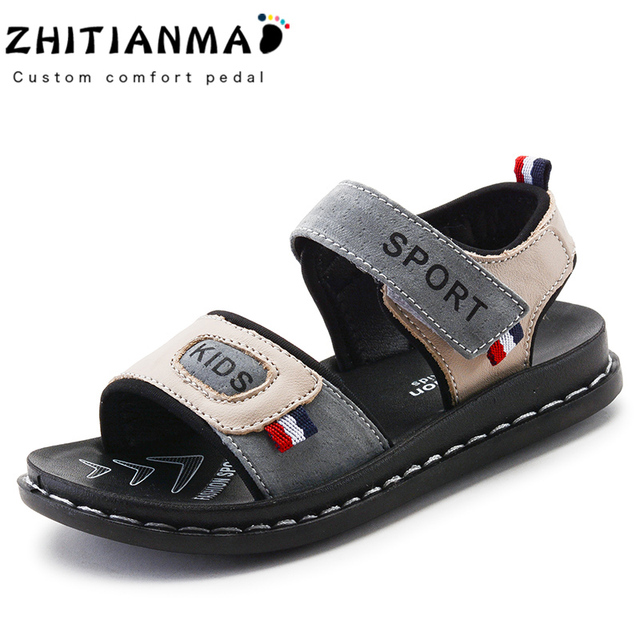 2018 Big Boys Beach Genuine Leather Sandals Kids Summer Shoes Children Non- Slip Shoes Boys Student Sport Shoes Flat With 9909