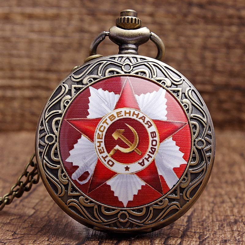 Vintage USSR Soviet Badges Sickle Hammer Pocket Watch Necklace Bronze Pendant Chain Clock CCCP Russia Emblem Communism Men Women 38