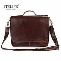 Free Shipping 100 Genuine Leather Bag For Men Dark Brown Briefcases Portfolio Handbag 7108R