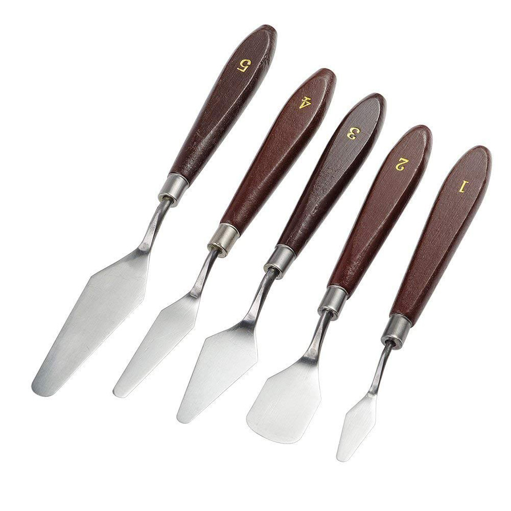 5pcs-palette-knife-painting-stainless-steel-scraper-spatula-wood-handle-art-supplies-for-artist-canvas-oil-paint-color-mixing