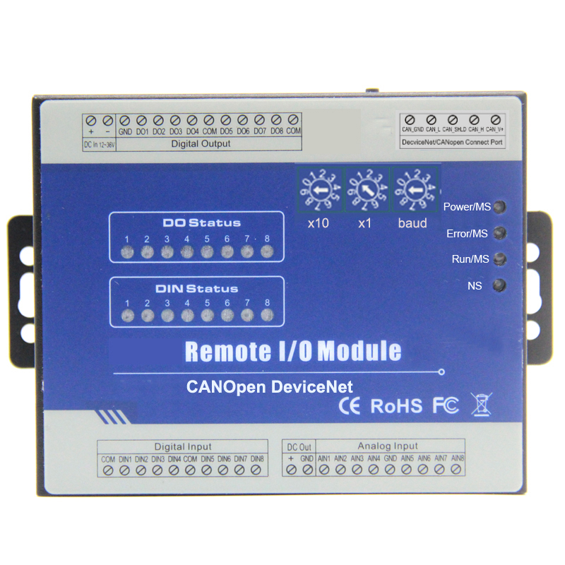 DeviceNet Remote I/O Module for PLC HMI with CANBus interface 8 Digital Input/Outputs supports PWM output M160D 22mrt 12 input 8 relay outputs 2 transistor outputs high pulse output 232 communicate 24v