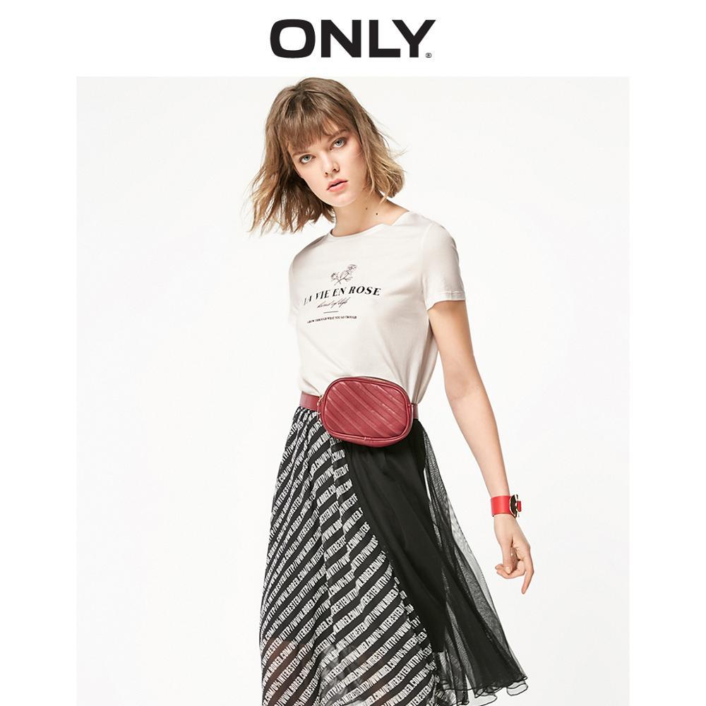 ONLY  Spring Summer Women's Loose Fit Letter Print Short-sleeved T-shirt |119101576
