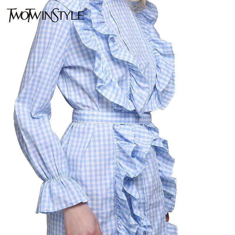 TWOTWINSTYLE клетчатое платье для женщин с оборками, на шнуровке, с высокой талией, с расклешенными рукавами, мини-платья для женщин, весна 2019, милая модная одежда