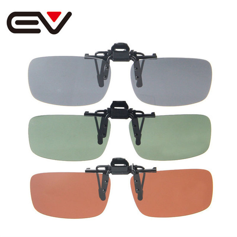 2015 Nova Marca Multicolor Lente Polarizada Clip-on Flip-up Óculos De Sol  Condução Pesca Óculos De Sol S M L UV400 Lente EV0189 f15d1bed22