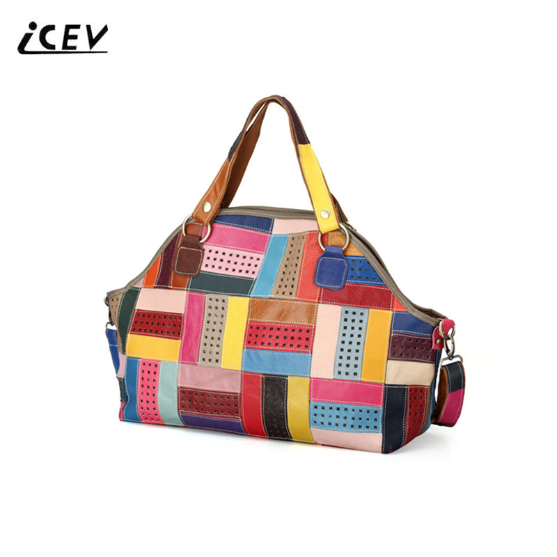 ICEV New Fashion Patchwork Hollow Out Stripe Genuine Leather Handbags Women Leather Handbags Cowhide Simple Ladies Totes Bolsa