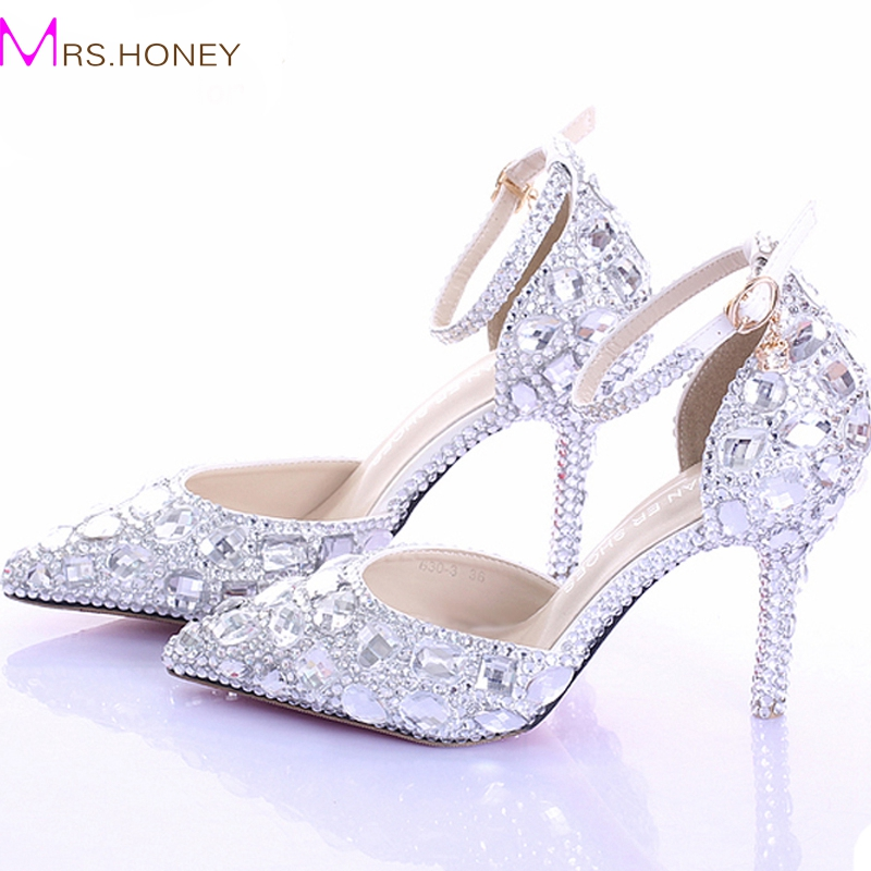 ФОТО Pointed Toe Silver Pumps AB Color Bridal Shoes Rhinestone High Heel Glitter Women Pumps Comfortable Wedding Shoes Ankle Straps
