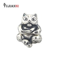Authentic 25 Sterling Silver Animal Cat Charm Necklace Pendant Bead Fit European Bracelet Necklace Jewelry