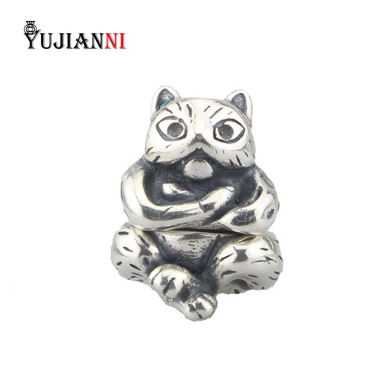 Authentic 25 Sterling Silver Animal Cat Charm Necklace Pendant Bead Fit European Bracelet&Necklace Jewelry