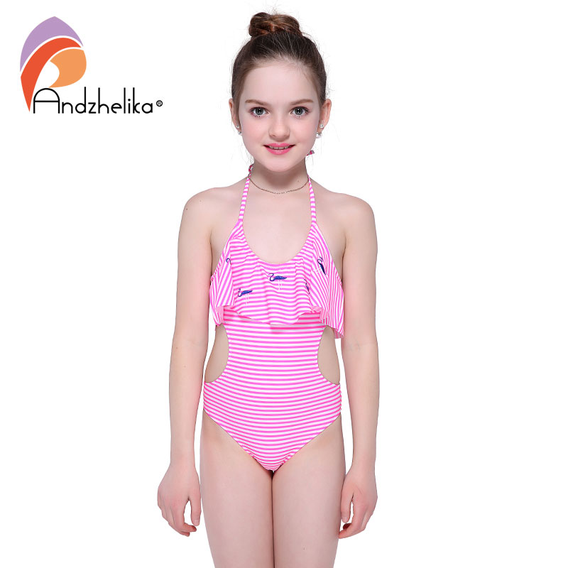 Andzhelika Bikini Girls One Piece Swimsuit Striped Animal Bird Swimwear Sports Girls Hollow Out Bodysuit Bathing Suit AK1897