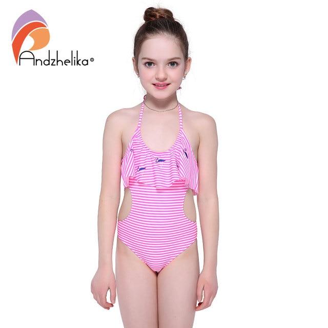 606fae6051 Andzhelika Bikini Girls One Piece Swimsuit Striped Animal Bird Swimwear  Sports Girls Hollow Out Bodysuit Bathing Suit AK1897